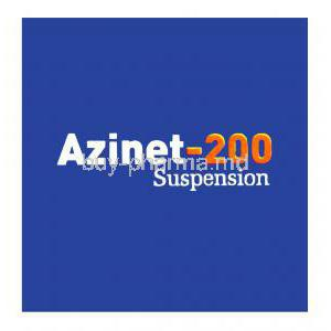 Azinet-200, Generic Zithromax, Azithromycin Oral Suspension 200mg per 5ml 15ml Box Top