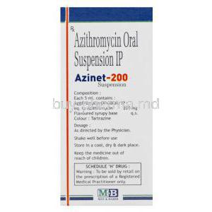 Azinet-200, Generic Zithromax, Azithromycin Oral Suspension 200mg per 5ml 15ml Box Composition