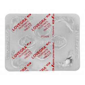 Lovegra, Sildenafil Citrate 100mg Tablet Strip Back