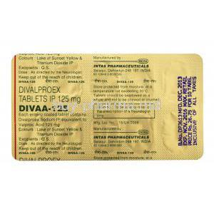 Divaa-125, Generic Depakote, Divalproex Sodium 125mg Tablet Strip Information