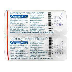 Ursocol, Ursodeoxycholic Acid  150mg blister pack information