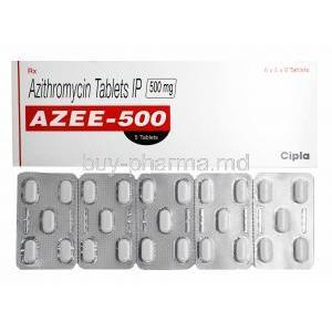Azee, Azithromycin 500mg box and tablets