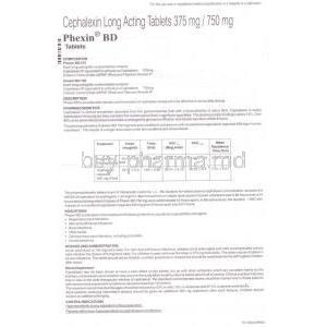 Phexin, Generic Keflex, Cephalexin 375 mg Long Lasting Tablet (GSK) information sheet part 1