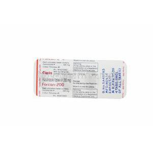 Forcan-200, Generic Diflucan, Fluconazole 200mg Tablet Strip Information