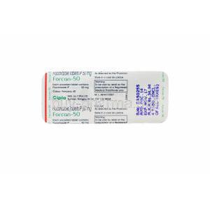 Forcan-50, Generic Diflucan, Fluconazole 50mg Tablet Strip Information