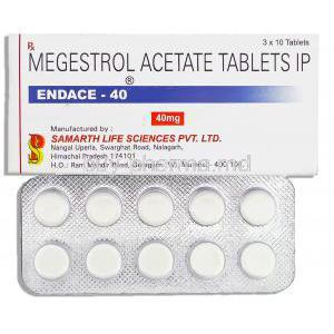 Endace, Generic Megace,   Megestrol Acetate 40 Mg Tablet (Samarth Pharma)