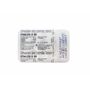 Etalize-S 20, Generic Vytorin, Simvastatin 20mg and Ezetimibe 10mg Tablet Strip Information