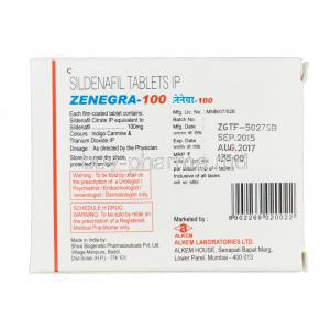 Zenegra-100, Sildenafil 100mg Box Information