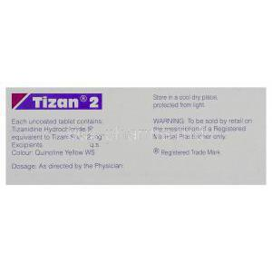 Tizan, Generic Zanaflex, Tizanidine 2 mg Tablet (Sun pharma)  Box warning