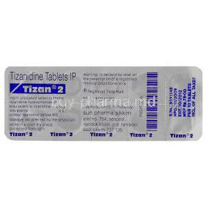 Tizan, Generic Zanaflex, Tizanidine 2 mg Tablet (Sun pharma)  blister packaging information