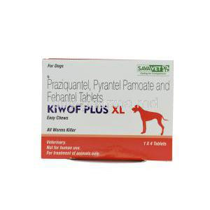 KIWOF PLUS XL Easy Chews for Dogs, Praziquantel 175mg + Pyrantel Pamoate 504mg + Febantel 525mg Box