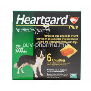 HEARTGARD PLUS CHEWABLES for Medium Dogs, Ivermectin 136mcg and Pyrantel Pamoate 114mg Box