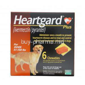 HEARTGARD PLUS CHEWABLES for Large Dogs, Ivermectin 272mcg and Pyrantel Pamoate 227mg Box
