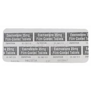 EXEMESTANE, Generic Aromasin, Exemestane 25mg Tablet Strip Back