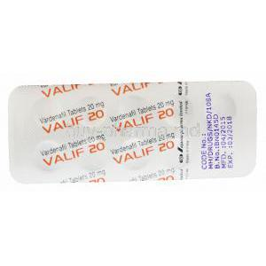 Valif 20, Generic Levitra, Vardenafil 20mg Tablet Strip Back