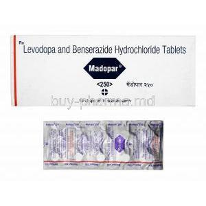 Madopar, Levodopa and Benserazide 250mg box and tablets