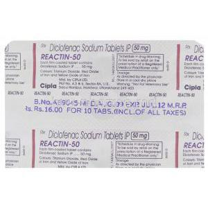 Reactin, Generic  Voltaren, Diclofenac 50 mg Cipla packaging