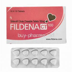 Fildena, Sildenafil Citrate Chewable Tablets 100mg 100tabs, Box front presentation with blister packaging