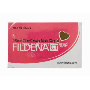 Fildena, Sildenafil Citrate Chewable Tablets 100mg 100tabs, Box front presentation