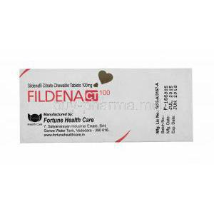Fildena, Sildenafil Citrate Chewable Tablets 100mg 100tabs, Box back presentation, Manufactured by Fortune health Care, Batch no, Mfg Date, Exp date