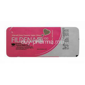 Fildena, Sildenafil Citrate Chewable Tablets 100mg 100tabs, Back blister packaging manufactured by Fortune Health care