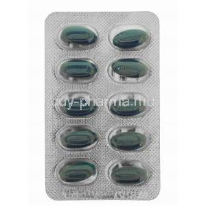 Generic Viagra, Sildenafil Soft tablet, 100mg 100 capsules, Blister pack front view of capsules