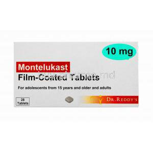 Generic Singulair, Montelukast Tablet Dr Reddy's, 10mg 28tabs, Film Coated Tabs, Box front view