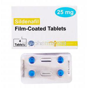 Sildenafil, Dr. Reddy's, Film coated tablets, 25mg 4 tabs, box front view with blister pack
