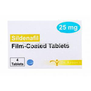 Sildenafil, Dr. Reddy's, Film coated tablets, 25mg 4 tabs, box front view