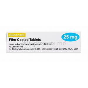 Sildenafil, Dr. Reddy's, Film coated tablets, 25mg 4 tabs, box side view with warning label