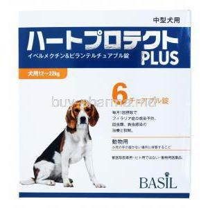 Heart Protect Plus For Dogs, Ivermectin/ Pyrantel Chewable, 6 tabs, Basil, Box front presentation, 12~22Kg
