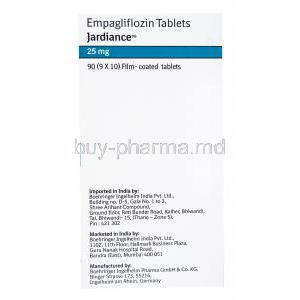Jardiance, Empagliflozin, 90(9x10) Film coated tablets, Boehringer Ingelheim, box side presentation, Imported, Marketed and Manufactured by Boehringer Ingelheim.
