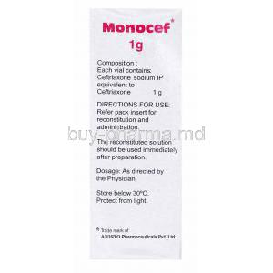 Generic  Rocephin, Ceftriaxone Sodium Injection, Monocef 1g, box side presentation with information on composition and directions of use