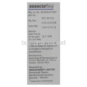 Nosocef, Generic Rocephin, Ceftriaxone Sodium 250 mg Injection manufacturer info