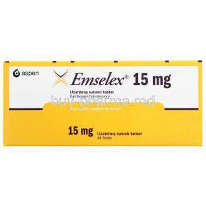 Emselex, Darifenacin, 15mg 28 tablet, Aspen, box front presentation