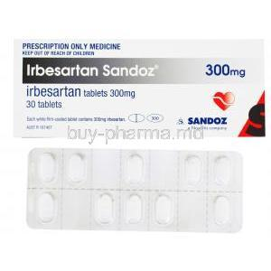 Irbesartan Sandoz, 300mg 30 tabs, Box and blister pack front presentation