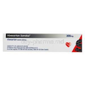 rbesartan Sandoz, 300mg 30 tabs, Box side