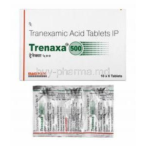 Trenaxa, Tranexamic Acid 500mg box and tablets