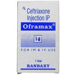 Oframax, Generic  Rocephin,  Ceftriaxone 1 Gm/ 10 Ml Injection Box