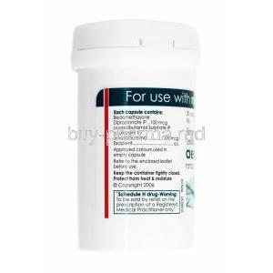 Aerocort Rotacap, Levosalbutamol and Beclometasone capsule bottle back
