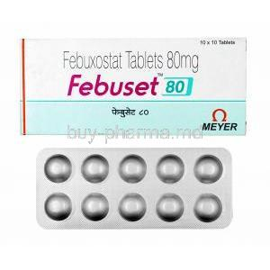 Febuset, Febuxostat 80mg box and tablets