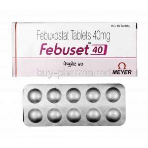 Febuset, Febuxostat 40mg box and tablets