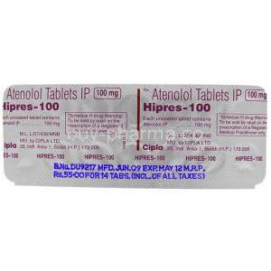 Hipres, Atenolol 100 Mg  Tablet Packaging