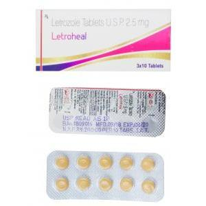 Letroheal, Letrozole 2.5mg, box and blister pack presentation