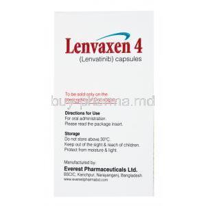 Lenvaxen, Lenvatinib 4mg 30 caps, Everest, box side presentation with directions for use and storage instructions