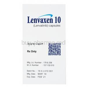 Lenvaxen, Lenvatinib 10mg 30 caps, Everest, box side presentation with information