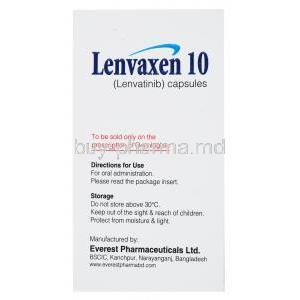 Lenvaxen, Lenvatinib 10mg 30 caps, Everest, box side presentation with information of directions for use and storage instructions