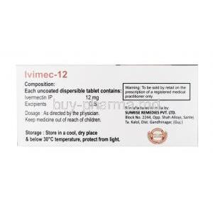 Ivimec, Ivermectin 12mg composition