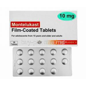 Generic  Singulair, Montelukast Tablet Dr Reddy's, 10mg 28tabs, Film Coated Tabs, Box front view and strip