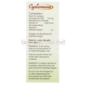 Cyclomune, Generic  Restasis,  Cyclosporine Eye Drop Composition